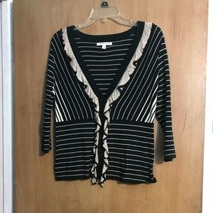 Cabi Cardigan Sweater Ruffle Detail Stripes CUTE S